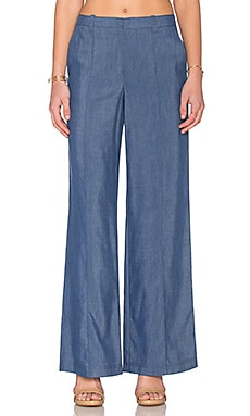 Vince Chambray Pintuck Wide Leg Trouser in Dark Indigo
