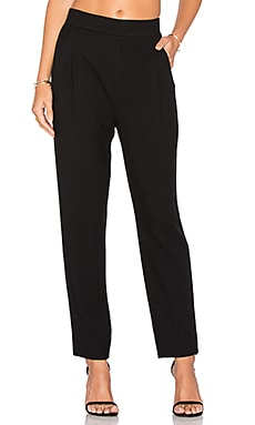 Waffle Knit Pleat Pant in Black