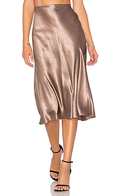 Satin Flare Skirt in Coffee