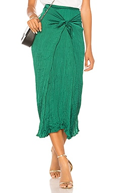 Pleated Tie Front Skirt