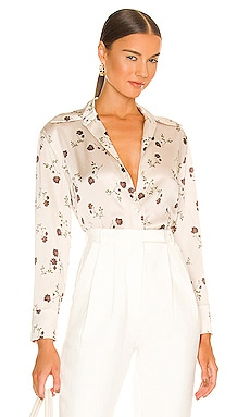 Autumnal Rose Shaped Collar Blouse Vince $345 NEW