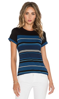 Vince Stripe Tee in Black & Danube