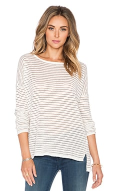 Vince Stripe Boatneck Tee in Off White