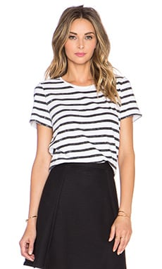 Vince Distressed Striped Tee in Black & White