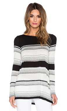 Vince Engineered Stripe Long Sleeve Tee in Heather Grey & Black