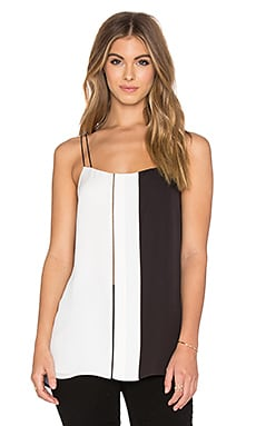 Vince Colorblock Ladder Stitch Cami in Off White & Black
