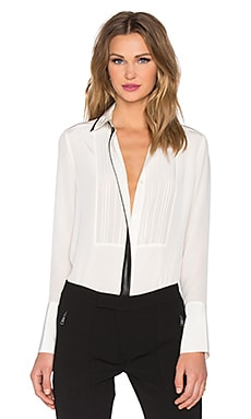 Long Sleeve Embroidered Bib Button Up in Off White