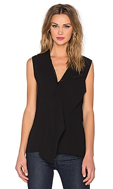 Vince Zip Neck Draped Shell in Black