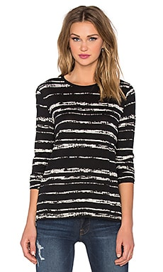 Vince Shadow Stripe Print Long Sleeve Tee in Black & Off White