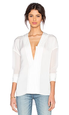 Long Sleeve Embroidered Vee Blouse in Off White & Off White