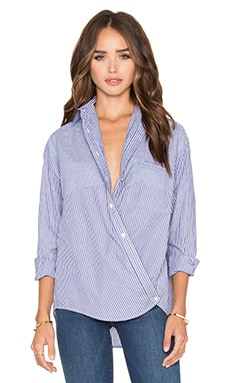 Vince Poplin Stripe Crossover Button Up in Blue & White Stripe