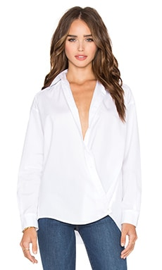 Poplin Crossover Button Up in Optic White