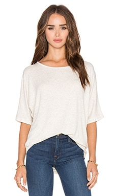 Luxe Rib Dolman Tee in Heather White