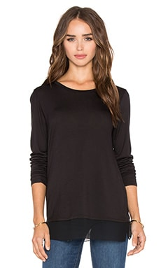 Crinkle Chiffon Mixed Media Long Sleeve Tee in Black