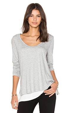 Vince Double Layer Colorblock Tee in Heather Grey & White