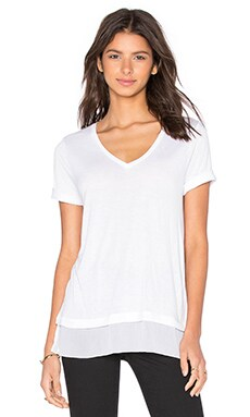 Crinkle Chiffon Mixed Media V-Neck Tee in Off White