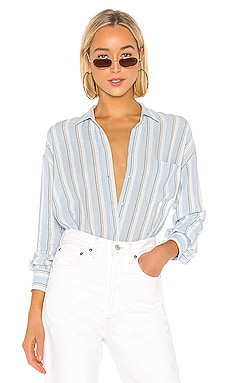Textured Stripe Boxy Button Down Vince $104