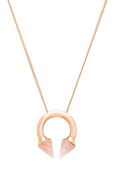 Vita Fede Titan Ring Stone Necklace in Rose Gold & Pink Quartz