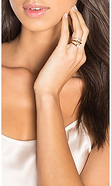 Vita Fede Triple Pearl Titan & Crystal Band Ring in Rose Gold
