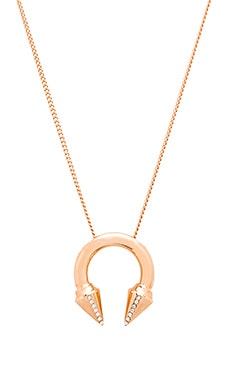 Vita Fede Titan Side Crystal Ring Necklace in Rose Gold & Clear