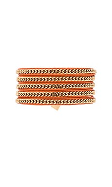 Capri Wrap Bracelet in Orange Leather & Gold