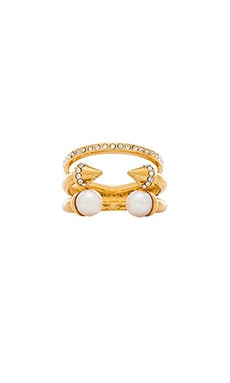 Vita Fede Triple Pearl Titan & Crystal Band Ring in Gold & Rose Gold & Silver