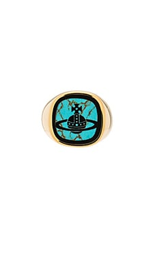 Vivienne Westwood Roxy Small Ring in Turquoise Black