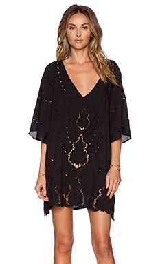 Vix Swimwear Embroidery V Caftan in Black