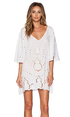 Vix Swimwear Embroidery V Caftan in White