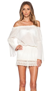 SOFIA by Vix Swimwear Drop Shoulder Mini Dress in Off White