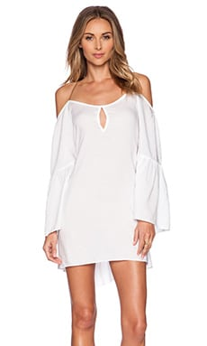 SOFIA by Vix Swimwear Open Shoulder Caftan in Solid White