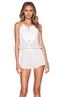 SOFIA by Vix Swimwear Embroidered Cali Romper in Solid White