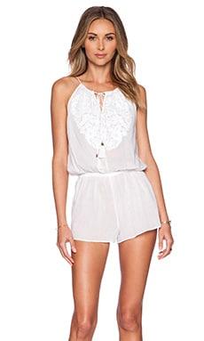 SOFIA by Vix Swimwear Embroidered Cali Romper in Solid White