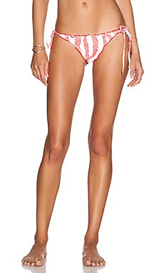 Vix Swimwear Ripple Tie Bikini Bottom in Coral