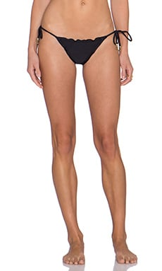 SOFIA by Vix Swimwear Ripple Tie Side Bikini Bottom in Solid Black