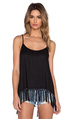 SOFIA by Vix Swimwear Fringe Tank in Solid Black