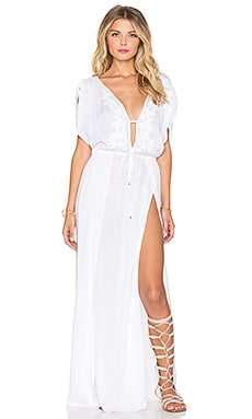 Vix Swimwear Agatha Long Caftan in Solid White