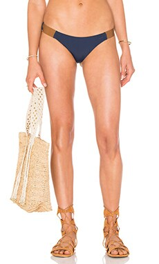 Vix Swimwear Leather Band Bikini Bottom in Solid Indigo