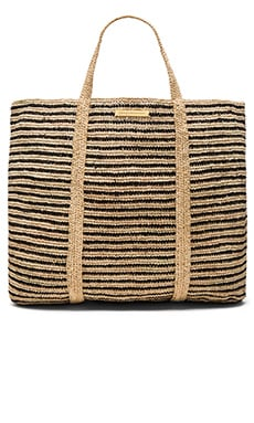 Vix Swimwear Woven Stripe Bag in Black