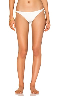 Solid Long Tie Bikini Bottom in Off White