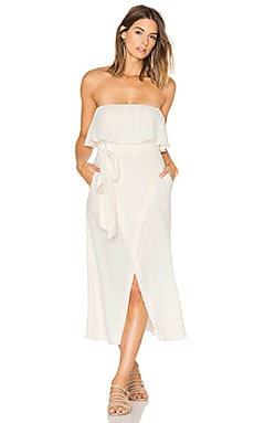 Solid Strapless Dress in Off White