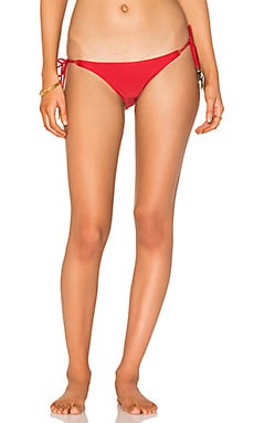 Solid Ivory Tie Bikini Bottom in Red