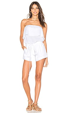 Solid Strapless Mini Romper in White