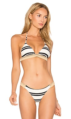 Classic Stripe Jute Tri Top in White