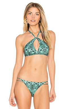Snake Knot Halter Top in Green