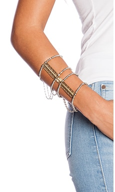 Vanessa Mooney The Blaze Hand Chain in Silver & Gold
