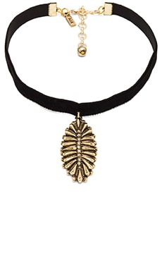 Vanessa Mooney The Black Velvet Western Charm Choker in Black & Gold