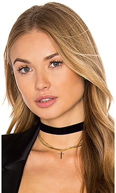 Vanessa Mooney Chain & Cross Choker in Gold