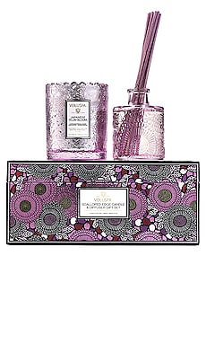 Japanese Plum Bloom Scalloped Candle & Diffuser Gift Set Voluspa $45