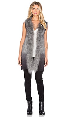 The Allflower Creative Swarm Tibet Lamb Fur Vest in Charcoal Dip Dye